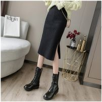 skirt Autumn 2020 S [small for 85-105 kg], m [medium for 105-115 kg], l [large for 115-135 kg], XL [large for 135-155 kg] Black, ginger, light gray, coffee, light purple, dark green, light apricot, pink, lake green Mid length dress commute High waist skirt Solid color Type H 30-34 years old knitting