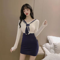Dress Spring 2021 White and blue S,L,M Short skirt singleton  Long sleeves commute Admiral High waist Solid color Socket One pace skirt routine Others Type X Korean version Splicing, three-dimensional decoration