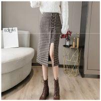 skirt Winter 2020 S,M,L,XL,2XL,3XL,4XL Black, khaki Mid length dress commute High waist A-line skirt lattice Type A 25-29 years old xie786 Wool Other / other Korean version