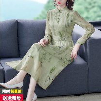 Dress Autumn 2020 Light green S M L XL 2XL longuette singleton  Long sleeves commute stand collar High waist Decor Socket A-line skirt routine 40-49 years old Dianyi Poetry Retro printing 12AWDA More than 95% other other Other 100% Exclusive payment of tmall