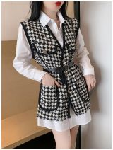 Women's large Autumn 2020 S,M,L,XL Two piece set commute Long sleeves lattice Korean version Polo collar shirt sleeve Other 18-24 years old