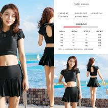 Split swimsuit You you Red, black M (85-95 kg), l (95-110 kg), XL (110-120 kg), 2XL (120-135 kg) Skirt split swimsuit Steel strap breast pad 19467A female Crew neck