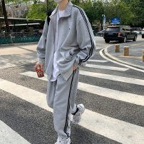 Leisure sports suit spring M,L,XL,2XL G77 white suit, u82 white pants, G65 white top, D11 black suit, o37 black pants, K47 black top, g86 light gray suit, q59 light gray pants, R64 camel suit, t88 camel pants, g69 camel top Long sleeves Other / other trousers teenagers Sweater U89745 cotton