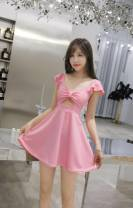 Dress Spring 2020 Black, red, white, pink S,M,L,XL Short skirt singleton  Sleeveless commute V-neck middle-waisted Solid color Socket Big swing other camisole 18-24 years old Type A Britain Bow, ruffle, Auricularia auricula, stitching, wave 31% (inclusive) - 50% (inclusive) other Vinylon