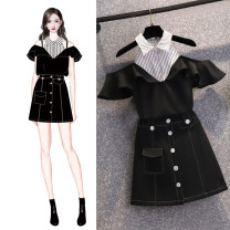 Dress Summer 2021 black S,M,L,XL,2XL Short skirt Two piece set Short sleeve commute stand collar High waist Solid color zipper One pace skirt Pile sleeve Others 25-29 years old Type H Bo Manfang Korean version Button More than 95% polyester fiber
