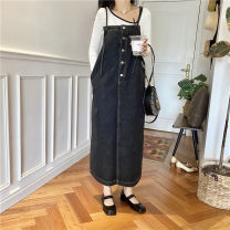 Dress Autumn 2020 Dark blue black Average size longuette singleton  Sleeveless commute other Loose waist Solid color Socket A-line skirt other 25-29 years old Type A Yinni Korean version Pocket button More than 95% Denim cotton Cotton 100%