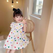 Dress white female Other / other 90cm,100cm,110cm,120cm,130cm,140cm Polyester 60% cotton 40% summer fresh Skirt / vest love blending Princess Dress Class B 18 months, 2 years old, 3 years old, 4 years old, 5 years old, 6 years old, 7 years old Chinese Mainland Zhejiang Province Wenzhou City