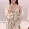 Dress Summer 2021 Apricot cardigan + floral suspender skirt S,M,L,XL Mid length dress Two piece set Sleeveless commute Crew neck High waist Decor Socket A-line skirt routine camisole Type A Sandro asw lady 91% (inclusive) - 95% (inclusive)