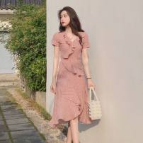 Dress Summer 2021 Pink S,M,L,XL Middle-skirt singleton  Short sleeve Sweet V-neck middle-waisted Dot other Irregular skirt routine Others Type A Sandro asw Auricularia auricula, printing, stitching, pleating, pleating 71% (inclusive) - 80% (inclusive) Chiffon Cellulose acetate
