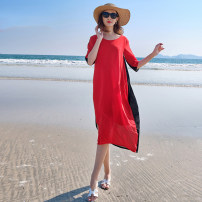 Dress Summer 2021 Black and red stitching S,M,L,XL,XXL,XXXL longuette singleton  Short sleeve commute Crew neck middle-waisted Solid color zipper Big swing other Type H Sandro asw Simplicity Splicing 91% (inclusive) - 95% (inclusive) Chiffon polyester fiber