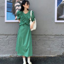 Dress Spring 2021 Blue green apricot S M longuette singleton  Short sleeve commute Crew neck High waist Solid color Socket A-line skirt routine 18-24 years old Type A XRSERENDIPITY fold xrserendipity005 More than 95% Chiffon cotton Cotton 100%
