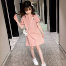 Dress Pink female Other / other The height of 110 is about 105 cm, 120 is about 115 cm, 130 is about 125 cm, 140 is about 135 cm, 150 is about 145 cm, 160 is about 155 cm Other 100% summer Korean version Short sleeve Solid color cotton Straight skirt Class A Chinese Mainland