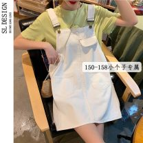 Dress Summer 2021 White black S M L XS Short skirt singleton  Sleeveless commute Loose waist Solid color A-line skirt straps 18-24 years old Type H Shuli Korean version More than 95% Denim other Other 100% Pure e-commerce (online only)