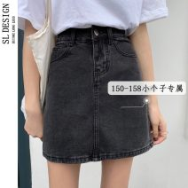 skirt Spring 2021 XS S M L Blue black Short skirt commute High waist A-line skirt Solid color Type A 18-24 years old 145# More than 95% Shuli other zipper Korean version Other 100% Pure e-commerce (online only)