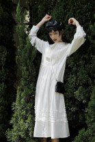Dress Autumn 2020 white S,M,L longuette singleton  Long sleeves commute Doll Collar High waist Solid color Socket A-line skirt routine 18-24 years old Type A EVENOLDER Retro Button, catch JXL2007005 More than 95% cotton