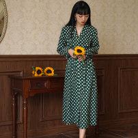Dress Spring 2021 blackish green S,M,L longuette singleton  Long sleeves commute V-neck High waist Dot Socket A-line skirt routine 25-29 years old Type A EVENOLDER Retro printing JXL2102015 More than 95% cotton