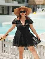 Split swimsuit three-primary colours black 4XL,5XL,6XL,3XL,7XL,8XL,9XL Steel strap breast pad Nylon, polyester female