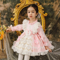 Dress Pink female Ziivaxxy / shoot 80cm 90cm 100cm 110cm 120cm 130cm Cotton 100% spring and autumn princess Long sleeves Solid color cotton A-line skirt ZY8057 Class A Spring 2021 12 months, 6 months, 9 months, 18 months, 2 years, 3 years, 4 years, 5 years, 6 years