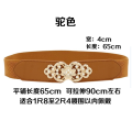 Belt / belt / chain Double skin leather White, black, red, camel, silver, Navy, coffee, sapphire, khaki, beige female Waistband Simplicity Single loop Youth, middle age a hook Flower design soft surface alloy