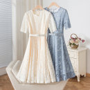 Dress Summer 2021 Blue, apricot M,L,XL Mid length dress singleton  Long sleeves street Crew neck High waist Solid color Socket A-line skirt routine Type X BYREL Pleats, lacing, stitching, lace L011 51% (inclusive) - 70% (inclusive) Lace Europe and America