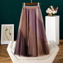 skirt Spring 2021 S,M,L,XL Apricot, purple Mid length dress street High waist A-line skirt Type A B009 Mesh, stitching Europe and America