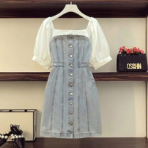 Women's large Summer 2021 Denim blue Large XXL , Large XL , Large size XXXXL , Large size XXXL , Large L Dress commute Solid color Korean version One word collar cotton puff sleeve 3101-9357 Other / other 25-29 years old 81% (inclusive) - 90% (inclusive) other other