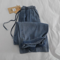 Jeans Summer 2021 blue M L XL 2XL trousers High waist Wide legged trousers Thin money washing Dark color govk 96% and above Other 100% Pure e-commerce (online only)