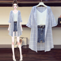 Women's large Summer 2021 Blue suit (three piece set) blue single shirt with suspender and single denim shorts (belt free) M [recommended 85-100 kg] l [recommended 100-120 kg] XL [recommended 120-140 kg] XXL [recommended 140-160 kg] 3XL [recommended 160-180 kg] 4XL [recommended 180-200 kg] commute