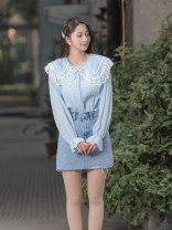 shirt Blue, yellow Average size Spring 2021 Cellulose acetate 96% and above Long sleeves commute Regular Doll Collar Single row multi button routine Solid color 18-24 years old Straight cylinder Beautiful Korean version Button man-made fiber
