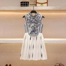 Dress Summer 2021 white S M L Short skirt singleton  Sleeveless commute Crew neck High waist Solid color Socket A-line skirt routine 25-29 years old Type A Hua Baihua court Embroidery printing H0326 More than 95% other Other 100% Pure e-commerce (online only)