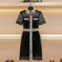 Dress Summer 2021 black S M L XL Middle-skirt singleton  Short sleeve commute Polo collar High waist Solid color Single breasted A-line skirt routine 25-29 years old Type A Hua Baihua Korean version Button H0268 More than 95% Lace other Other 100% Pure e-commerce (online only)