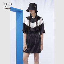 Dress Summer 2021 black S M L XL 2XL Short skirt singleton  Short sleeve other Elastic waist other Socket A-line skirt routine Others 25-29 years old Type A ITIB I212LYQ012 More than 95% polyester fiber Polyester 100%