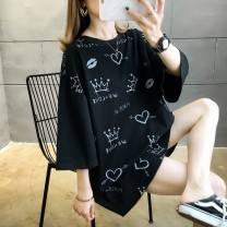 Women's large Summer 2020 black M Large XL Large XXL large XXXL large L T-shirt commute thin Short sleeve Korean version Luhuai 18-24 years old Other 100.00%