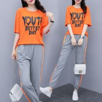 Women's large Summer 2021 Picture color Large XL Large XXL large XXXL large XXXXL large XXXXL large T-shirt Two piece set commute easy moderate Socket Short sleeve letter Korean version Crew neck routine cotton Three dimensional cutting 4MQsF Luhuai 25-29 years old pocket Other 100.00% Ninth pants