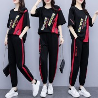 Women's large Summer 2021 black Large XL Large XXL large XXXL large XXXXL large XXXXL large T-shirt Two piece set commute easy moderate Socket Short sleeve letter Korean version Crew neck routine cotton Three dimensional cutting routine p1ZRD1 Luhuai 25-29 years old pocket Other 100.00% Ninth pants