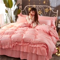 Bedding Set / four piece set / multi piece set cotton other Solid color 128x68 Other / other cotton 4 pieces 40 1.5m (5 ft) bed, 1.8m (6 ft) bed, 2.0m (6.6 ft) bed Bed skirt Qualified products Princess style 100% cotton D4581 Cool feeling