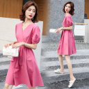 Dress Summer 2020 Honey Pink S,M,L Middle-skirt singleton  Short sleeve Sweet V-neck High waist character Socket A-line skirt puff sleeve Others Type A Button OMN2079 91% (inclusive) - 95% (inclusive) other cotton Bohemia