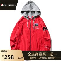Jacket Park champion Youth fashion Red, black, white S M L XL 2XL 3XL routine easy Other leisure spring Polyester 100% Long sleeves Wear out Hood tide youth routine Zipper placket Rib hem No iron treatment Closing sleeve Solid color polyester fiber Spring 2021 Zipper decoration Side seam pocket