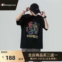 T-shirt Youth fashion Light gray white black routine 4XL 5XL S M L XL 2XL 3XL Park champion Short sleeve Crew neck easy Other leisure summer DT6082 Cotton 100% teenagers routine tide Cotton wool Spring 2021 Cartoon animation printing cotton Creative interest No iron treatment International brands