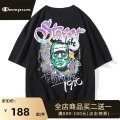 T-shirt Youth fashion White black routine XXL 4XL S M L XL 3XL Park champion elbow sleeve Crew neck easy daily summer GJ21016 Cotton 99% other 1% youth Off shoulder sleeve tide Cotton wool Summer 2021 Cartoon animation printing cotton Cartoon animation other Fashion brand More than 95%