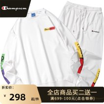 Leisure sports suit spring S M L XL 2XL 3XL Black and white Long sleeves Park champion trousers teenagers Sweater T638-638a long sleeve suit cotton Spring 2021 79.3% cotton 20.7% polyester