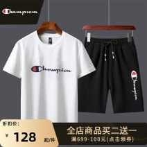 Leisure sports suit summer M L XL 2XL 3XL 4XL Black white red Short sleeve Park champion Pant youth T-shirt A909 polyester fiber Spring 2021 95.2% polyester 4.8% spandex