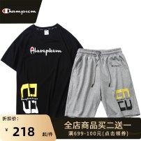 Leisure sports suit summer M L XL 2XL 3XL Short sleeve Park champion trousers teenagers T-shirt cotton Spring 2021 100% cotton