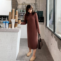 Women's large Autumn 2020 Half high collar brown dress, half high collar brick red dress, half high collar black dress XL (suitable for 120-150 kg), XXL (suitable for 150-180 kg), XXXL (suitable for 180-210 kg) Dress singleton  commute moderate Socket Long sleeves Simplicity