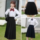 skirt Summer 2021 XS,S,M,L,XL,2XL,3XL,4XL,5XL Mid length dress Sweet Natural waist Pleated skirt Solid color Type A 18-24 years old Other / other fold solar system