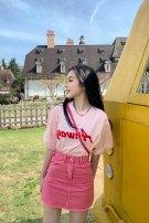 skirt Summer 2021 S M L XL Pink skirt Short skirt commute High waist A-line skirt Solid color Type A 18-24 years old More than 95% Denim Hou Tianchuan other pocket Other 100%