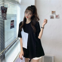 T-shirt White black M L XL Summer 2021 Short sleeve Crew neck easy Medium length routine commute cotton 96% and above 18-24 years old Korean version youth Splicing Mushangbird Lace Cotton 96% other 4% Pure e-commerce (online only)