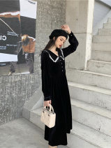 Dress Spring 2021 black S,M,L,XL,XXL,XXXL singleton  commute Polo collar High waist Solid color Big swing other 25-29 years old Yingchao Retro DYC864