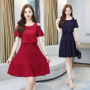 Dress Spring 2021 M L XL 2XL 3XL longuette singleton  Short sleeve commute Crew neck High waist Solid color Socket A-line skirt routine 25-29 years old Type A Dai Wanqi Korean version Splicing More than 95% Chiffon other Other 100%