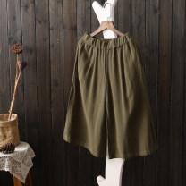Casual pants White, army green, Navy, black, leather powder Average size Summer 2016 Wide leg pants See description hemp